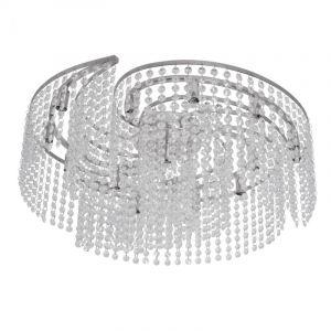 """Plafonnier Design en Cristal """"Cascade"""" 60cm Argent - Paris Prix"""