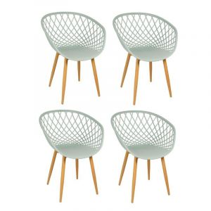 "Lot de 4 Chaise Design ""Zina"" 81cm Vert Anis - Paris Prix"