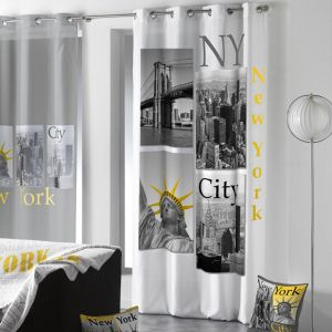 "Rideau """"New York Yellow"""" 140x260cm Blanc - Paris Prix"""