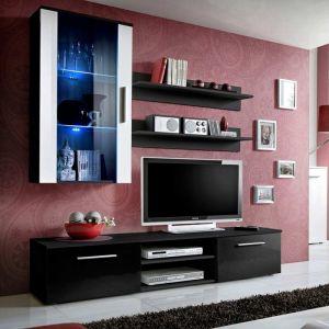 """Meuble TV Mural Design """"""""Galino V Black"""""""" Noir & Blanc"""""""