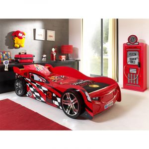 "Pack - Lit Enfant Voiture """"Night Speeder"""" & Armoire 1 Porte """"Pompe à Essence"""" Rouge"""
