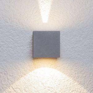 Applique d'extérieur LED Jarno argentée, cube