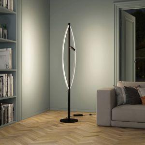 Lucande Matwei lampadaire LED, ovale, nickel