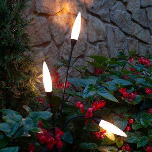 Borne lumineuse Espiga pour l'extérieur, 3 lampes
