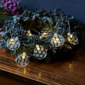 Guirlande lumineuse LED Polka en verre, 8 lampes