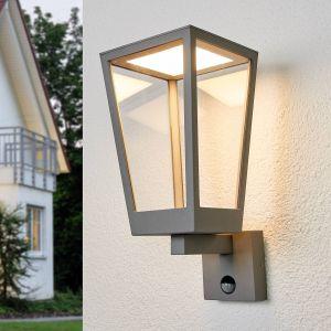 Applique Chaja avec détecteur, forme de lanterne