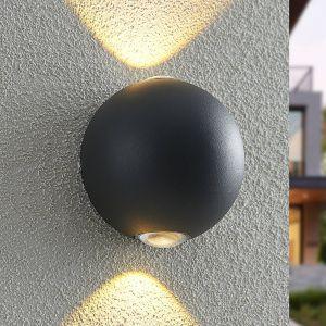 Lindby Esmani applique LED ronde 2 l., gris foncé