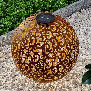 Lampe solaire LED Eduta déco, sphère, rouille