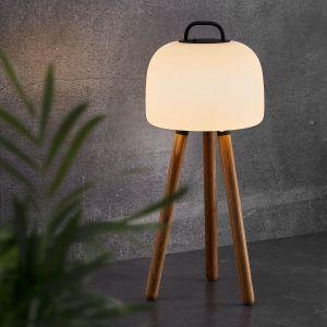 Lampe LED Kettle trépied bois, abat-jour 22cm