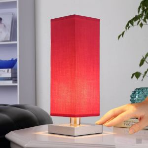 Lampe de chevet rouge Julina abat-jour en tissu