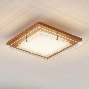 Plafonnier LED Cattleya en bois, 32cm