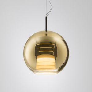 Suspension LED en verre Beluga Royal, dorée