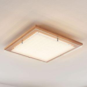 Plafonnier LED Cattleya en bois, 52 cm
