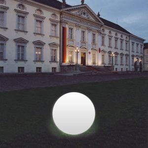 Boule lumineuse Snowball blanche pied en alu 60 cm