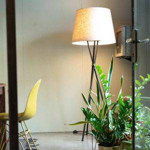 Ozonos Hailey lampadaire LED gris lin avec AC-1