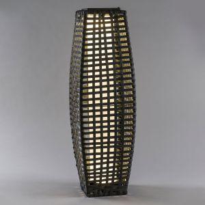 Lampe solaire LED Colonne rotin arrondi gris foncé
