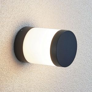 Potelet LED Nitalia, rond, gris foncé