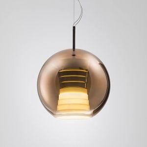 Suspension LED en verre Beluga Royal, cuivre