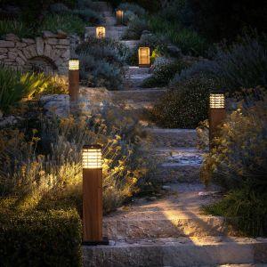 Borne solaire LED Tekura, teck naturel/gris