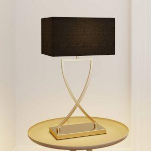 Lucande Evaine lampe table laiton abat-jour noir