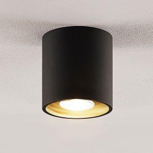 Lindby Parvin downlight en aluminium, rond, noir
