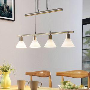 Suspension Delira 4lampes hauteur réglable nickel