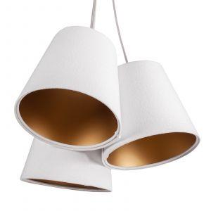 Suspension Ambrozja 3 lampes abat-jour bicolores