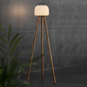 Lampadaire LED Kettle trépied bois abat-jour 22cm