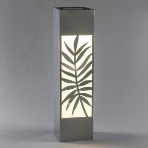 Lampe solaire LED Colonne, acier inox, fougère