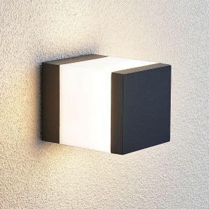 Potelet LED Litas, carré, gris foncé