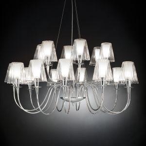 Lustre Opéra à 18 lampes avec abat-jour en verre