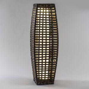 Lampe solaire LED Colonne rotin, arrondie, brune