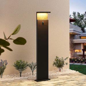Lucande Lignus borne lumineuse LED, détecteur