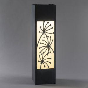 Lampe solaire LED Colonne, aspect béton, fleurs