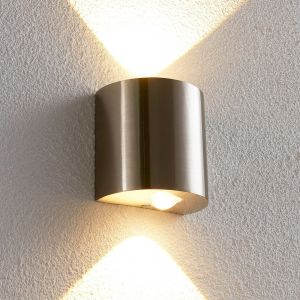 Applique LED en demi-sphère Lareen, nickel satiné