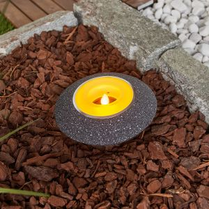 Bougie chauffe-plat LED solaire Shivani en gris