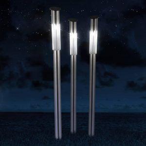Lampe solaire à piquet en inox, set de 3