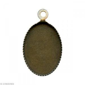 Support pendentif plateau ovale pour cabochon 13 x 18 mm - bronze