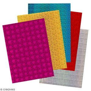 Papier holographique - Assortiment 5 couleurs x 10 feuilles