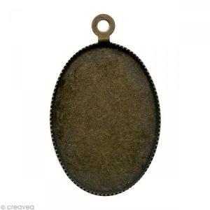 Support pendentif plateau ovale pour cabochon 18 x 25 mm - bronze