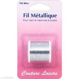 Bobine de fil à coudre métallique gris argenté - 100 mètres