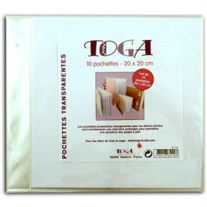 Pochettes plastiques album photo 20 x 20 cm - Lot de 10