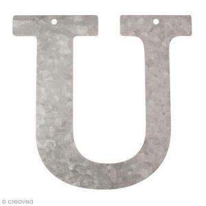 Lettre en métal galvanisé 12 cm - U