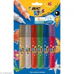Colle pailletée colorée Métallique - Assortiment de 6 tubes