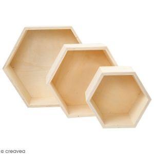 Etagères hexagonales en bois à décorer - 15 à 24 cm - 3 pcs