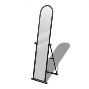 vidaXL Miroir en fer sur pied noir