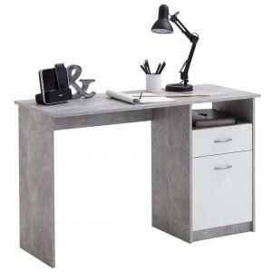 FMD Bureau avec 1 tiroir 123 x 50 x 76,5 cm Béton et blanc