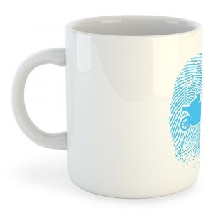 Tasses Kruskis Tasse Motorbiker Fingerprint - White - Taille 325 ml (11 oz)