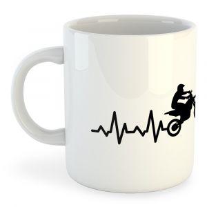 Tasses Kruskis Tasse Off Road Heartbeat - White - Taille 325 ml (11 oz)