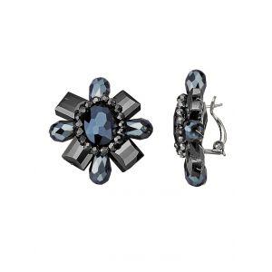 Clips d'oreilles à pierres de verre KLiNGEL Noir